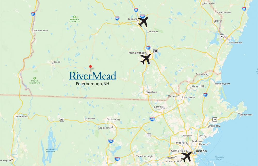 Map of RiverMead's location to airports